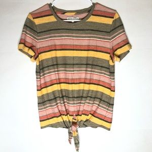 MADEWELL Texture & Thread Tie Waist Striped Shirt